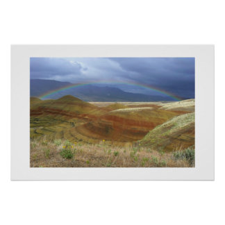 Rainbow Over Painted Hills Poster