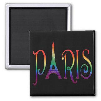 rainbow over Paris 2 Inch Square Magnet