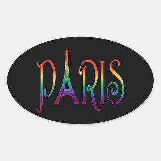 rainbow over Paris Oval Sticker