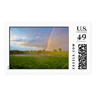 Rainbow Over Pond Stamp
