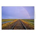 Rainbow over railroad tracks near Fairfield Card