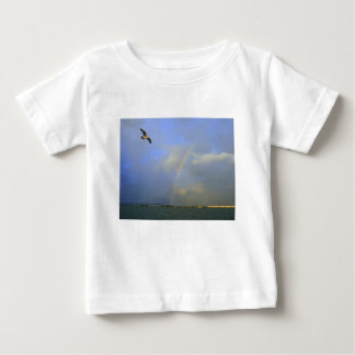 Rainbow over river bridge with seagull photo t-shirt