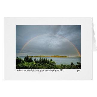 Rainbow over the chain links photo card