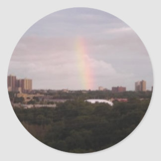 rainbow over The Golfcourse Round Sticker
