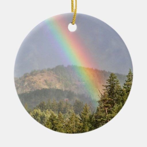 Rainbow Over the Mountains Christmas Tree Ornament