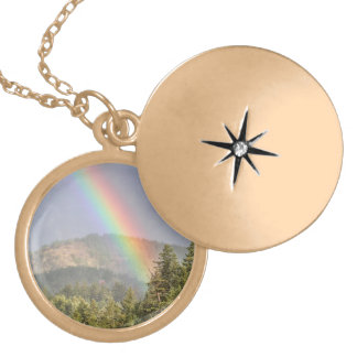 Rainbow Over the Mountains Locket Necklace
