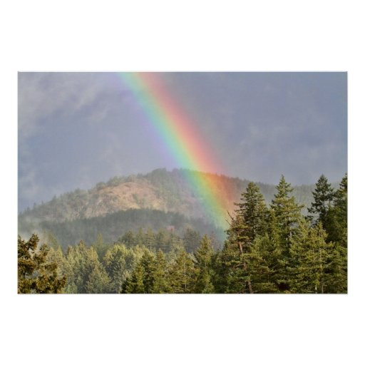 Rainbow Over the Mountains Poster
