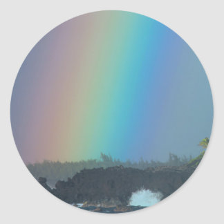 Rainbow over the Ocean Tide Classic Round Sticker