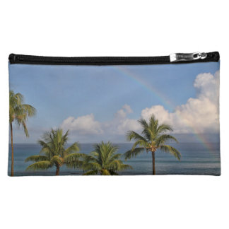 Rainbow over the Ocean with Palm Trees Cosmetic Bag