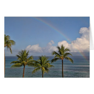 Rainbow over the Ocean with Palm Trees Card