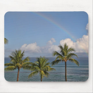 Rainbow over the Ocean with Palm Trees Mouse Pad