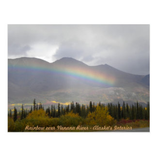 Rainbow over valey of fall colors postcard