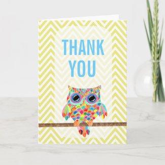 Rainbow Owl Chevron Thank You Card