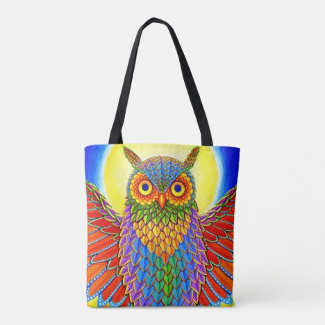 Rainbow Owl Colorful Tote Bag