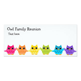 Rainbow Owls 4x9.25 Paper Invitation Card
