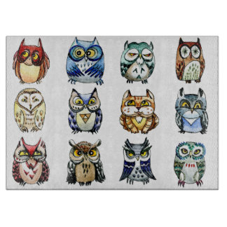 Rainbow owls and cat watercolor cutting board