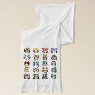 Rainbow owls and cat watercolor scarf