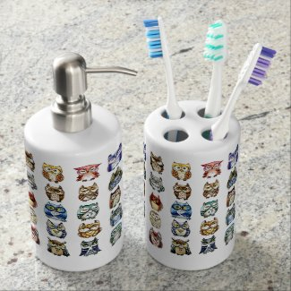 Rainbow Owls and cats watercolor painting Bath Set