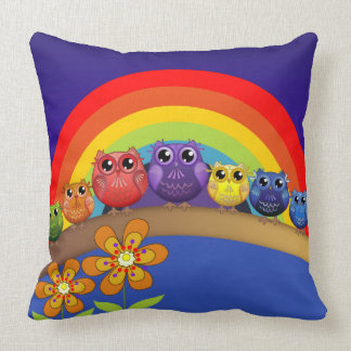 Rainbow Owls and Flowers Throw Pillow