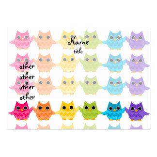 Rainbow Owls Business Card Template