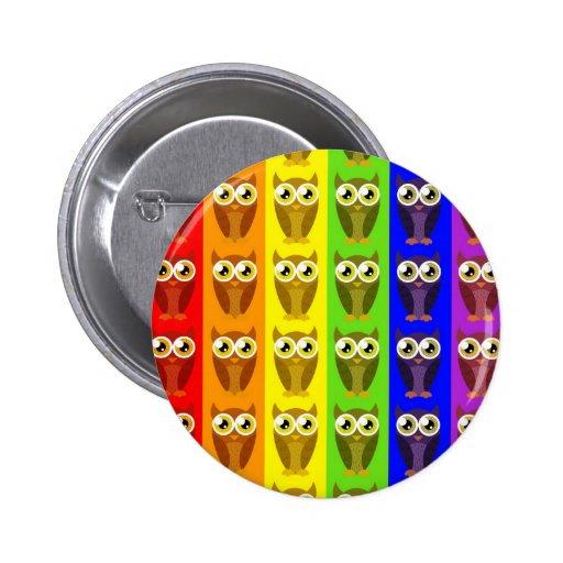 Rainbow Owls Button