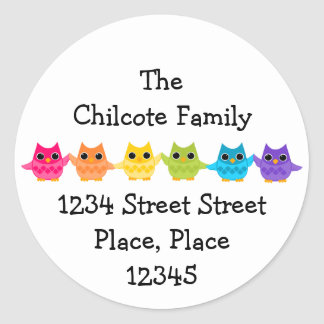 Rainbow Owls Classic Round Sticker