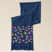 Rainbow owls colorful pattern blue scarf