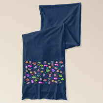 Rainbow owls colorful pattern scarf
