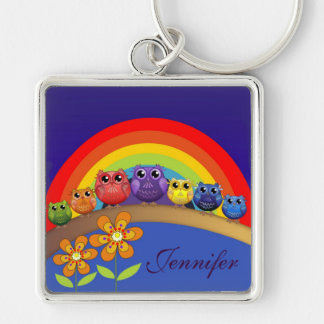 Rainbow Owls, Flowers & Custom Name Keychain