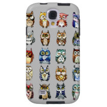 Rainbow owls - grey galaxy s4 case