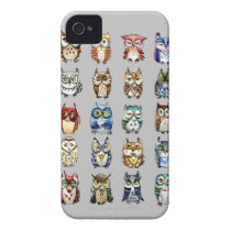 Rainbow owls - grey iPhone 4 case