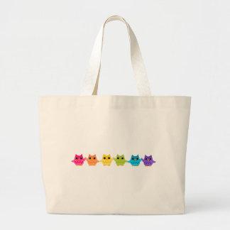 Rainbow Owls Large Tote Bag