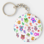 Rainbow owls - light basic round button keychain