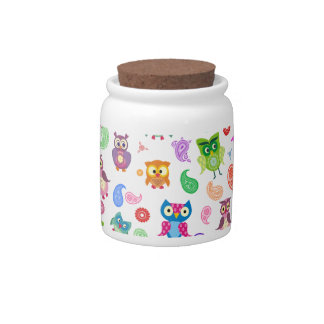 Rainbow owls - light candy jar
