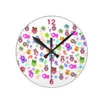 Rainbow owls - light round clock