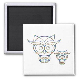 Rainbow Owls Magnet