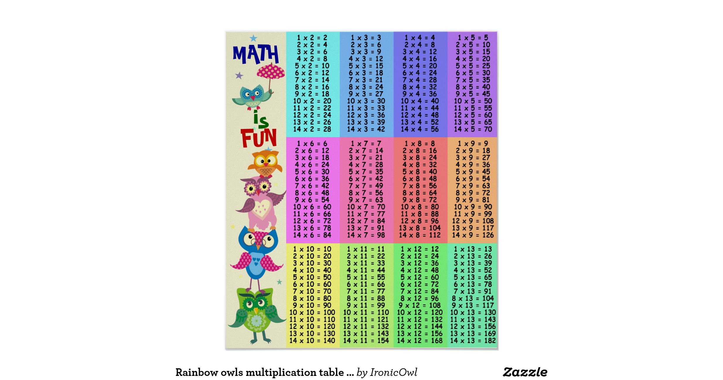 Rainbow owls multiplication table fun poster for Multiplication table to 52