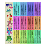 Rainbow owls multiplication table fun poster