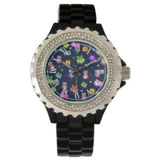 Rainbow owls pattern wrist watch