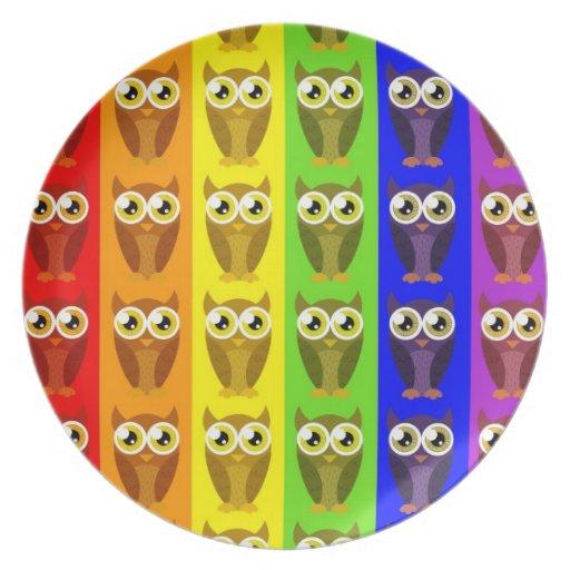Rainbow Owls Plate