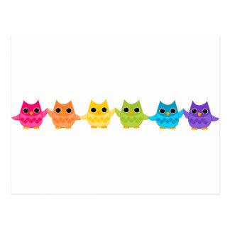 Rainbow Owls Post Cards