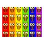 Rainbow Owls Postcard