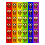 Rainbow Owls Poster