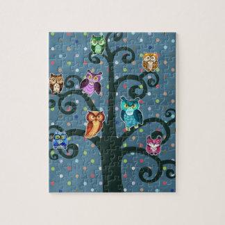 Rainbow Owls sitting on the tree Puzzles