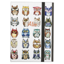 Rainbow owls watercolor cover for iPad air