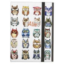 Rainbow owls watercolor iPad air covers