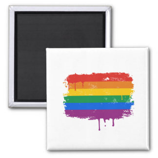 Rainbow Paint 2 Inch Square Magnet