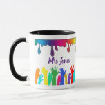 "Rainbow paint art teacher ""Best teacher ever Mug"