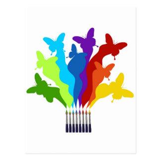 Rainbow paint brushes postcard