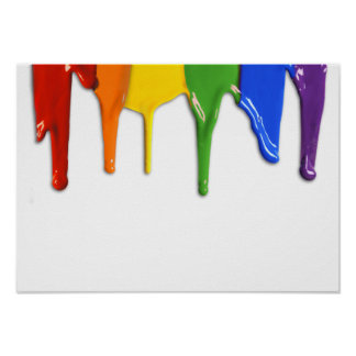RAINBOW PAINT DRIPPINGS --.png Poster